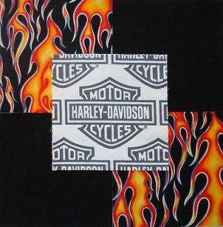30 6 HARLEY DAVIDSON Shield Logo Red/Orange flames Quilt Fabric