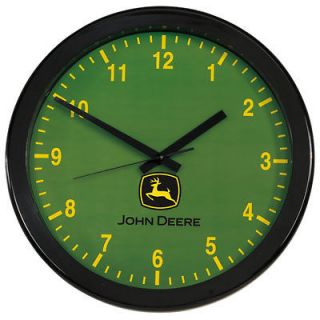John Deere 14 inch Grande Wall Clock with Green Face and Yellow