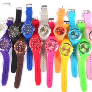 Silicone Rubber Quartz Wrist Jelly Watch Unisex With Calendar date