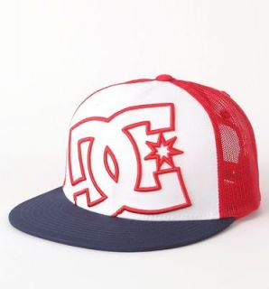 DC SHOES White/Navy/Red DAXX TRUCKER HAT CAP MEN/ADULT SNAPBACK Skate