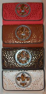 Western Rhinestone SilverTone Fleur de lis Stenciled Faux Leather