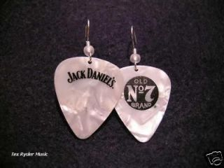 Jack Daniels White Pearloid / Guitar Pick Earrings