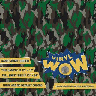 Sheets Craft Vinyl Decal Sticker   Camo Print Pattern   12 x 36