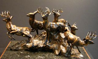 Sander SANDER POND Original Bronze Sculpture Deer with Base H.Signed