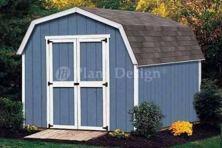 10 x 8 Gambrel Roof / Barn Shed Building Plans #31008