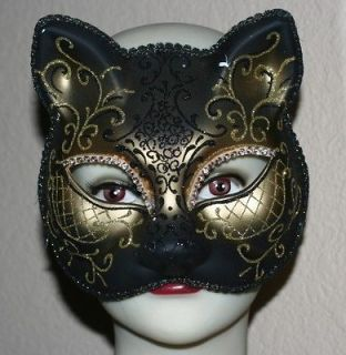 VENETIAN Mardi Gras Masquerade Ball BLACK GOLD with Glitters CATMASK