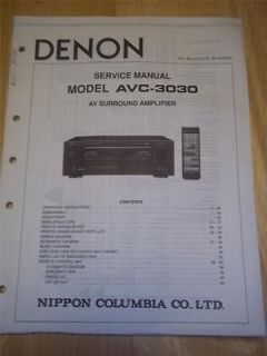 Denon Service Manual for AVC 3030 AV Amplifier~Oper ation~Original