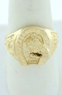 Newly listed MENS 10K YELLOW GOLD DIAMOND CUT HORSESHOE NUGGET RING