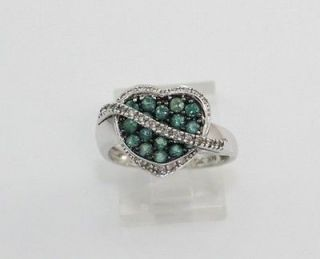 Solid 14K White Gold Green Sapphire & Diamond Heart Ring Size 7.25