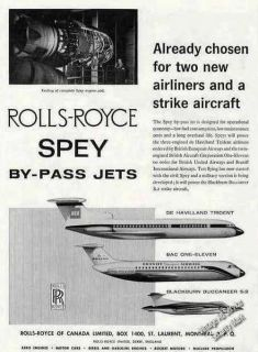 1962 Rolls Royce Spey By Pass Jet Engines Print Ad