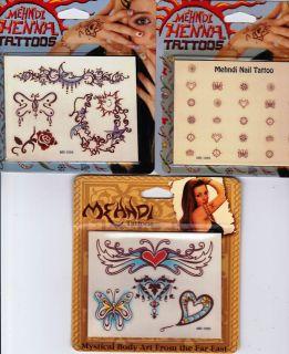 Temporary TATTOO Body Art MEHNDI Set HENNA Butterfly HEART Moon NAILS