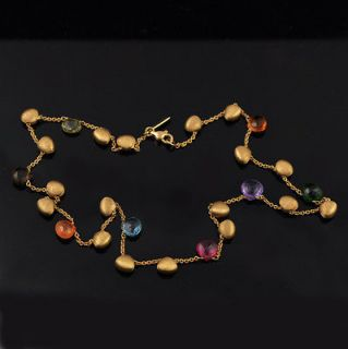 Marco Bicego Aruba Single Strand 18k Multi Gem Necklace