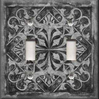 Light Switch Plate Cover   Wall Decor   Tuscan Tile Pattern   Dark