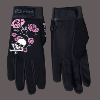 BIKER LADIES SKULL BONES ROSES MECHANIC GLOVES