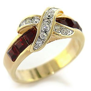 2ctw Siam Lab Created Diamond RUBY Channel Set X Ring 14K YELLOW GOLD