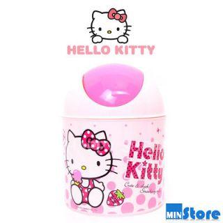 NEW Hello Kitty Desk Car Mini Trash Waste Basket Pink Dots Strawberry