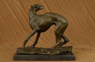 Signed Villanis Italian Greyhound Bronze Sculpture Art Deco Marble