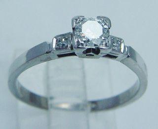 Jewelry USSR Russian 18K White Gold Diamond Engagement Ring Rare