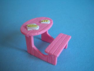 Fisher Price Sweet Street Dollhouse Pink Picnic Table w Food