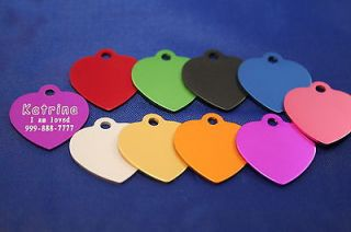 Small Heart Love ID Tag Custom Diamond Engraved Dog Cat Personalized