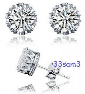 STERLING SILVER 2CT WEDDING DINNER PARTY DIAMOND EARRINGS + GIFT BOX