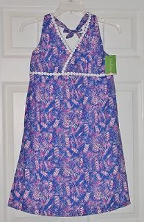 NWT Lilly Pulitzer Girls Dina Halter Dress Starry Blue Cherry Bomb 16