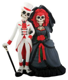 COOL DOD SKELETON GOTHIC HALLOWEEN WEDDING CAKE TOPPER.DAY OF THE DEAD