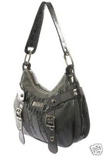 Womens Silver Grey Fabric and Leather Buckle Hobo Bag RRP £299