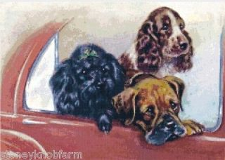 , SPRINGER SPANIEL & BOXER~Dogs~Counted Cross Stitch Pattern in Color