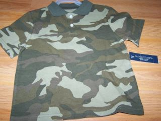 Toddler Boys Size 3T Green Camo Camouflage Polo Shirt Top Faded Glory