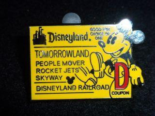 DISNEY PIN Mickey D Ticket/Tomorro wland