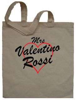 Mrs Valentino Rossi Tote Bag Shopper   Can Print Any Name or Words