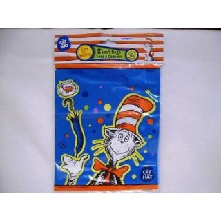 NEW SET OF 8 DR. SEUSS CAT IN THE HAT LOOT/PARTY BAGS