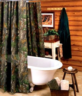 REALTREE HARDWOOD GREEN CAMO CAMOUFLAGE SHOWER CURTAIN