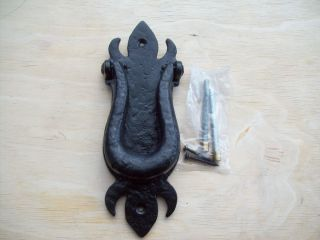 DUTY BLACK ANTIQUE WROUGHT IRON OLD ENGLISH VICTORIAN DOOR KNOCKER