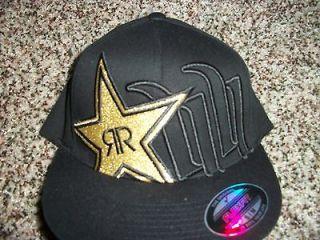 HUNTINGTON New NWT Mens HAT LID S/M Black Gold ROCKSTAR ENERGY DRINK