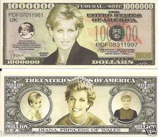 MEMORY OF PRINCESS DIANA~PRINCESS OF WALES~ DOLLAR BILL NOVELTY NOTE