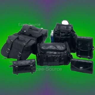 HONDA SHADOW VT VLX 600 700 LEATHER SADDLE BAGS SET 7PC