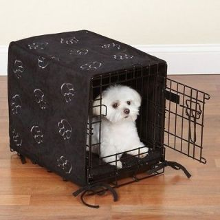 ProSelect Pawprint 2 Pc Dog Crate Cover & Bed Set Black