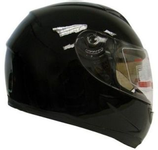GLOSSY BLACK DUAL SHIELD FULL FACE MOTORCYCLE SPORT HELMET SMOKE SUN