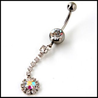 316L STEEL 14G DANGLE BELLY BUTTON RINGS NAVEL W/GEM