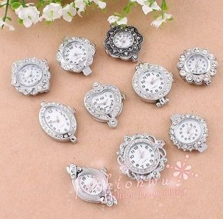Ancient Silver Plated Mixed Rhinestone Quartz Watch Face For Beading
