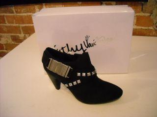 Kathy Van Zeeland Julian Black Studded Belted Bootie Ankle Shoes