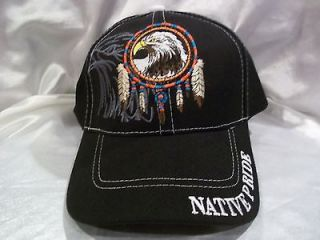 BALL CAP HAT IN BLACK BALD EAGLE DREAM CATCHER TRIBAL FEATHERS NEW