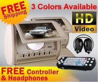 Car Pillow Headrest DVD Player 2x Radio Games Monitor 2x Headphones
