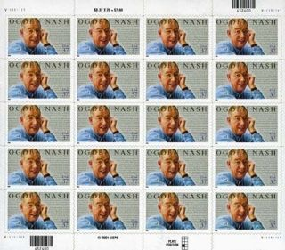 Ogden Nash 20 x 37 Cent U.S. Postage Stamps 2001 Black Friday Special