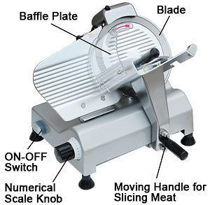 10 Blade Electric Meat Slicer 240w 530RPM Deli Food Cheese Veggies