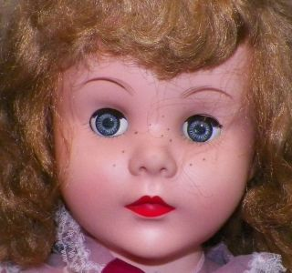 Vintage Effanbee Mary Jane Doll Beautiful Face Pink Organdy Dress 30