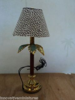 Miniature Palm Tree Lamp/W Leopard Shade/Electrif ied