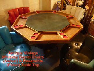 Antique Whiskey Barrel swivel chairs & reversible Vintage Poker